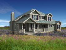 3d model of two level house. 3d Model of green siding house photo-matched in grassy foreground stock photography