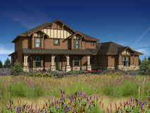 3d model of two level house. 3d Model of brown siding house photo-matched in grassy foreground stock image