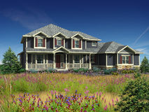 3d model of two level house. 3d Model of gray siding house photo-matched in grassy foreground royalty free stock image