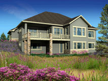 3d model of two level house. 3d Model of green siding house photo-matched in grassy foreground stock photos