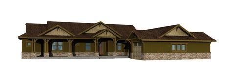 3d model van één niveauboerderij stock illustratie