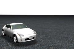 3d Model van Auto op Weg Royalty-vrije Stock Afbeeldingen