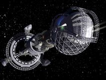 3D model van futuristisch ruimteschip Stock Afbeeldingen