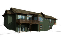 3d model van huis op twee niveaus stock illustratie