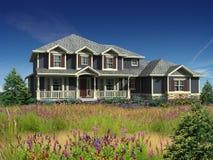 3d model van huis op twee niveaus royalty-vrije illustratie