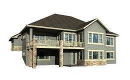 3d model van huis op twee niveaus Stock Afbeelding