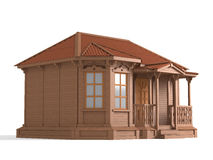 3D model of wooden house. A 3D model of a small wooden house isolated on white royalty free illustration