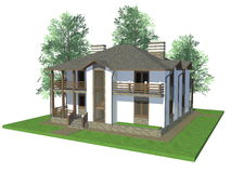 3d modelwoning Royalty-vrije Stock Afbeelding