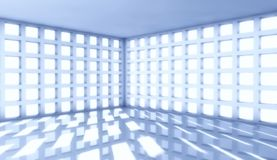 3d modern architecture interior with window. Background Stock Photos