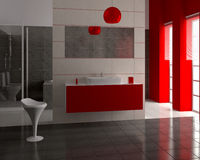 3d modern bathroom. 3d render of modern bathroom with white and black tiles on wall Stock Images