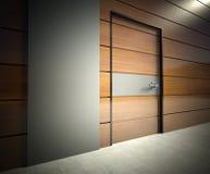 3d modern binnenland, muur met deur Royalty-vrije Stock Foto