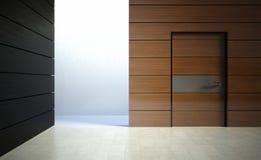 3d modern binnenland, muur met deur Stock Afbeeldingen