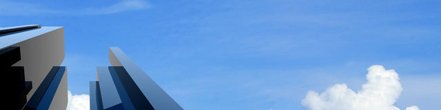 3d Modern building on a background sky. 3d background sky in a modern building work Royalty Free Stock Image