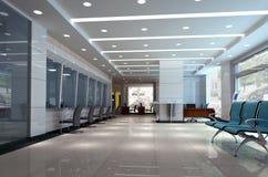 3d modern business hall. Modern design interior of business hall. 3D render