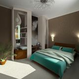 3d modern comfort bedroom. 3d modern design comfort bedroom stock illustration