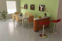 3d modern dining room Royalty Free Stock Image