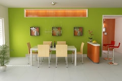 3d modern dining room Royalty Free Stock Images