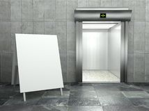 3d modern elevator with empty frame Royalty Free Stock Image