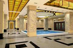 3d modern hall,corridor Royalty Free Stock Photos