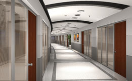 3D modern hotel hallway Royalty Free Stock Photos