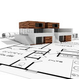 3d Modern House, And Blueprints Isolated On White Royalty Free Stock Photography