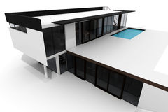 3d modern house isolated on white Stock Photography