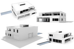 3d modern house, PACK,  isolated on white Stock Photography