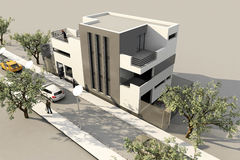 3d Modern House, Render In 3ds Max, On White Backg Royalty Free Stock Photography