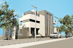 3d Modern House, Render In 3ds Max, On White Backg Royalty Free Stock Image
