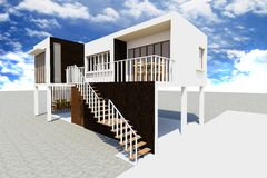 3d Modern house rendered Stock Images
