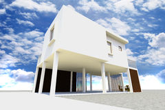 3d Modern House Rendered Royalty Free Stock Photography