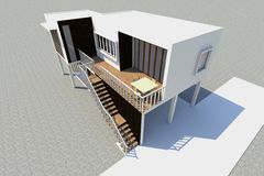 3d Modern house rendered Royalty Free Stock Images