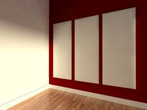 3d modern indoor, empty frame Royalty Free Stock Images
