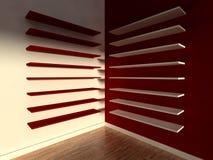 3d modern indoor, empty shelf Stock Photos