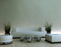 3d modern interior. Contemporary interior in soft tan tones with modern furniture and plants Stock Images
