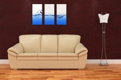 3d modern interior room with nice sofa and lamp stock illustration