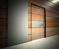 3d modern interior, wall with door Royalty Free Stock Photo