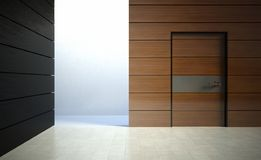 3d modern interior, wall with door Stock Images