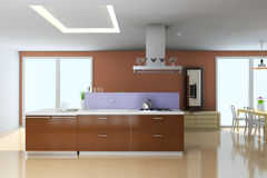 3d modern kitchen Royalty Free Stock Photography