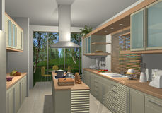 3D modern kitchen Royalty Free Stock Image