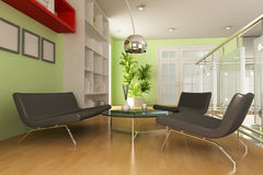 3d modern living room Royalty Free Stock Photo