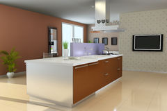3d modern living room Stock Images