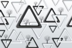 Free 3d Modern Mural Wallpaper . Black And White Triangles With Black Tree In Light Gray Background For Wall Art . Royalty Free Stock Photo - 215078965