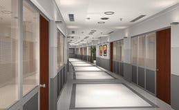3D modern office hallway. 3d rendering of an office hallway