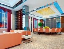 3d modern restaurant. Modern restaurant interior. 3D render Royalty Free Stock Images