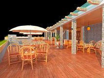 3d modern restaurant Stock Image