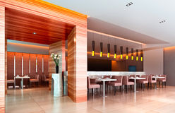 3d modern restaurant. Modern restaurant interior. 3D render Royalty Free Stock Photo