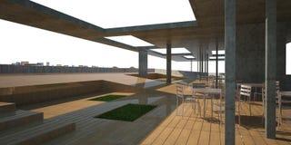 3D modern restaurant. White sky Royalty Free Stock Photo