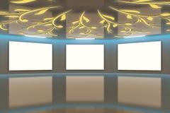 3d Modern virtual Gallery brown-blue Royalty Free Stock Photos