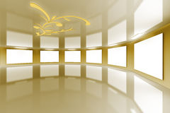 3d Modern virtual Gallery gold satin Stock Photos